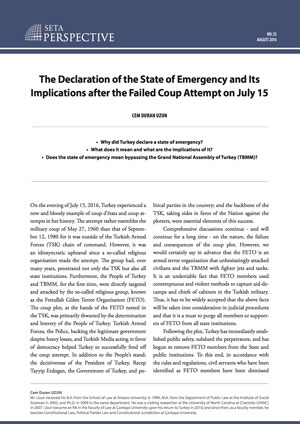 Perspective: The Declaration of the State of Emergency and Its Implications after the Failed Coup Attempt on July 15
